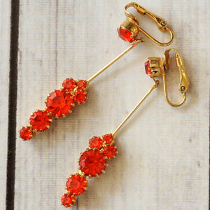 vintage gold red rhinestone long drop earrings